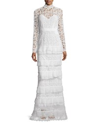 Self Portrait Primrose Long Sleeve Tiered Lace Gown White Size 4