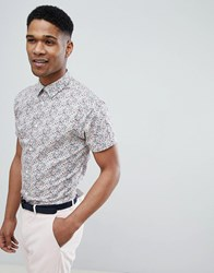 Selected Homme Short Sleeve Shirt With All Over Ditsy Print Hushed Violet Pink