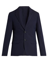 Lanvin Single Breasted Seersucker Wool Blend Blazer Navy