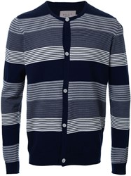Factotum Striped Cardigan Blue