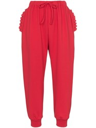 Simone Rocha Frill Trimmed Track Pants Red