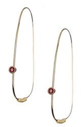 Lagos 18K Yellow Gold Caviar Ruby Endless Abstract Hoop Earrings Metallic