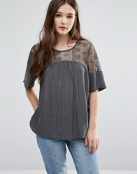 Y.A.S Kylie Top With Lace Yoke Green