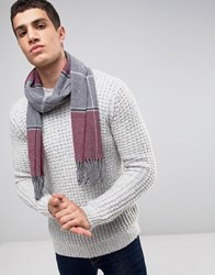 Asos Lambswool Check Scarf In Burgundy Check Burgundy Red
