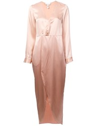 Fleur Du Mal Plunging Wrap Around Dress Pink And Purple