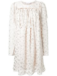 Chloe Leopard Print Jacquard Dress White