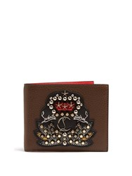 Christian Louboutin Kaspero Embellished Bi Fold Leather Wallet Brown Multi