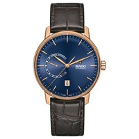 Rado R22879205 Unisex Coupole Automatic Date Leather Strap Watch Brown Blue