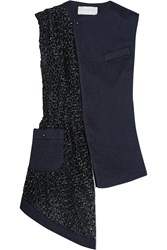 Esteban Cortazar Asymmetric Silk Cloqua And Basketweave Vest