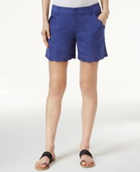 Inc International Concepts Scalloped Edge Shorts Only At Macy's Sail Blue