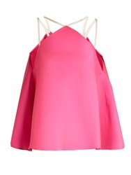 Maison Rabih Kayrouz Fluted Duchess Satin Top Pink