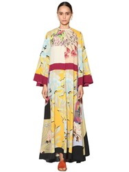 Etro Long Printed Silk Twill Dress Multicolor
