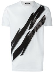 Dsquared2 Tiger Flash Sequinned T Shirt White