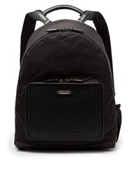Ermenegildo Zegna Front Pocket Nylon And Leather Backpack Black