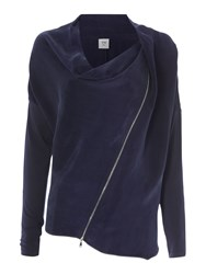 Crea Concept Zip Up Cowl Neck Jacket Navy