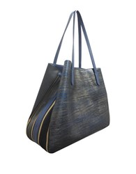 Sondra Roberts Gusset Leather Tote Bag Blue