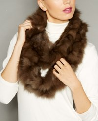 The Fur Vault Knitted Sable Infinity Scarf Natural