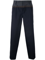 Kolor Embroidered Detail Tailored Trousers Blue