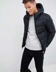 Celio Black Hooded Puffer Jacket In Dogstooth Grey