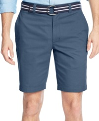 Club Room Belted Flat Front Shorts Riviera Blue