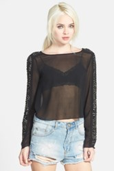 Tildon Beaded Sheer Top Black