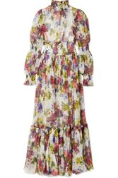 Dolce And Gabbana Smocked Floral Print Silk Chiffon Maxi Dress Ivory