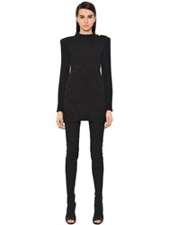 Balmain Lurex Knit Sweater Dress W Gold Buttons