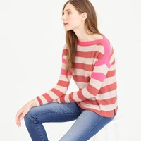 J.Crew Collection Featherweight Cashmere Striped Boatneck Sweater