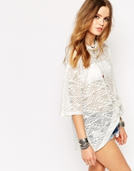 Glamorous Oversize T Shirt In Aztec Burnout White
