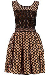 Missoni Pleated Crochet Knit Mini Dress Orange