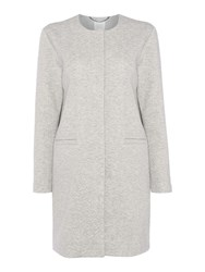 Part Two Collarless Jersey Coat Light Grey