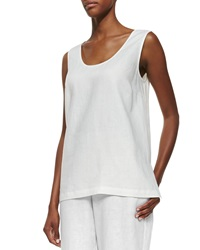 Go Silk Linen Scoop Neck Tank White