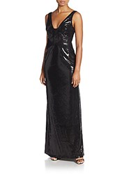 Vera Wang Sequin And Chiffon Gown Black