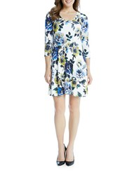 Karen Kane Leaf And Floral Printed A Line Dress