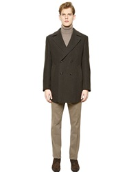 Corneliani Double Cashmere And Wool Blend Coat Military Green