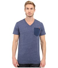 G Star Riban Short Sleeve V Neck Pocket Tee In Premium Compact Jersey Sapphire Blue Heather Men's Short Sleeve Pullover Red