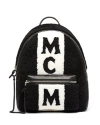 Mcm Stark Shearling Striped Backpack Black
