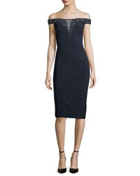 Theia Off The Shoulder Beaded Illusion Cocktail Dress Midnight