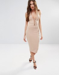 Hedonia Midi Pencil Dress With Lace Front Camel Brown