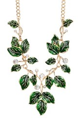 Eye Candy Los Angeles Green Leaf Necklace Metallic
