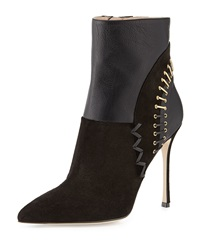 Laced Back Pointed Toe Bootie Black Sergio Rossi