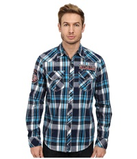 Affliction Infinity Dream L S Woven Shirt Cyan Men's Long Sleeve Button Up Blue