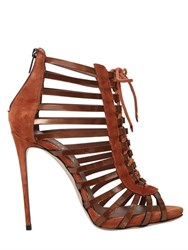 Le Silla 110Mm Suede And Metallic Leather Sandals