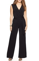 Plus Size Women's Lauren Ralph Lauren Surplice Jersey Wide Leg Jumpsuit Black