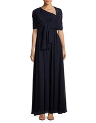 Eliza J Pleated One Shoulder Gown Navy