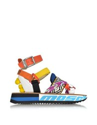 Moschino Techno Multicolor Fabric And Leather Platform Sandal W Pompon