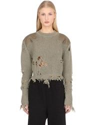 Yeezy Destroyed Cropped Sweater W Patches