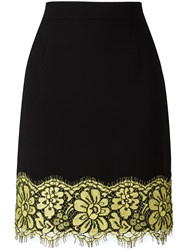 Boutique Moschino Lace Detail Straight Skirt Black
