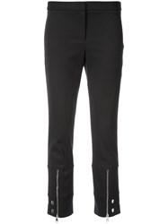 Alexander Mcqueen Cropped Zip Trousers Black
