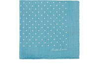 Ralph Lauren Purple Label Men's Polka Dot Wool Blend Pocket Square Light Blue